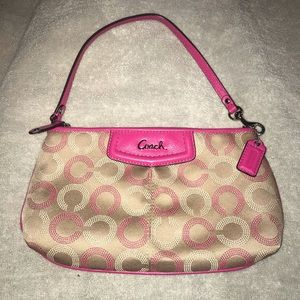 Coach Wristlet | Large | Tan and Hot Pink |